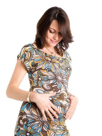 21 semanas feliz mujer embarazada, aislados en blanco  Foto de archivo