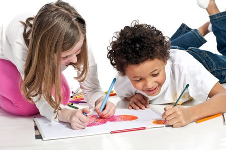 interracial  children drawing together, isolated on white background Stock Photo - 4201223
