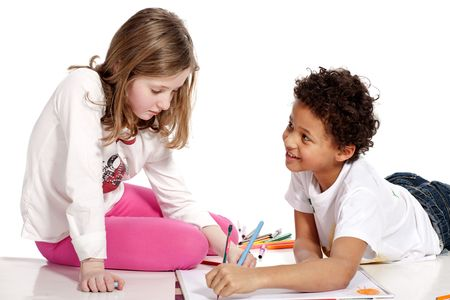 interracial  children drawing together, isolated on white background Stock Photo - 4201218