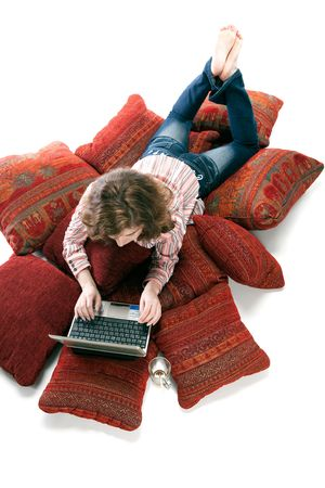 Beautiful woman working on laptop at home Stock Photo - 4245994