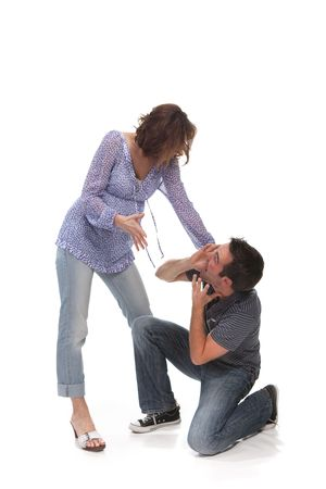 Angry couple yelling at each other Stock Photo - 5052600