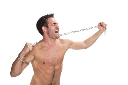 Young muscular man with a chain isolated on white photo