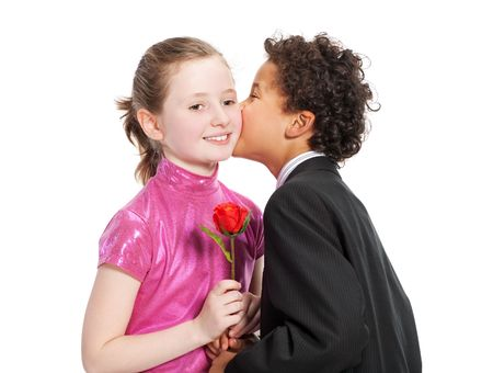 boy giving a rose to a girl, isolated on a white background Stock Photo - 5833443