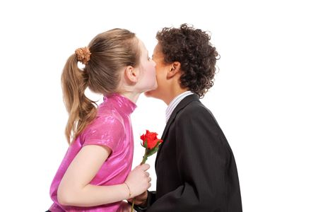boy giving a rose to a girl, isolated on a white background Stock Photo - 5833448