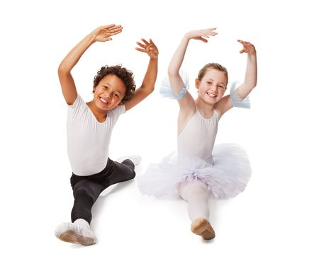 interracial  children dancing together, isolated on white background