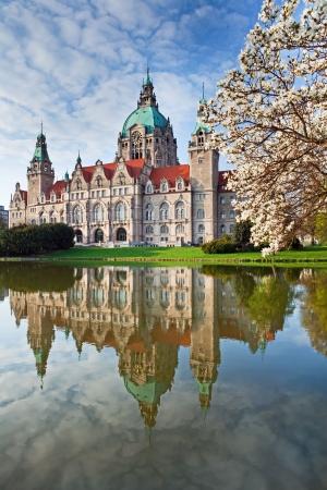 Neus Rathaus Hannover, la ciudad de nueva Ayuntamiento  Foto de archivo