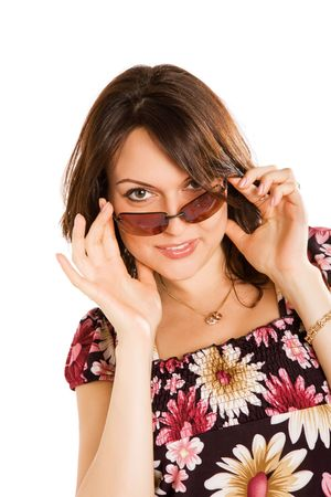 young woman in sun glasses, isolated in white   photo