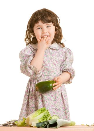 daughter cooking salad at the kitchen Stock Photo - 6105632