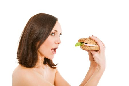 Woman Eating Burger photo