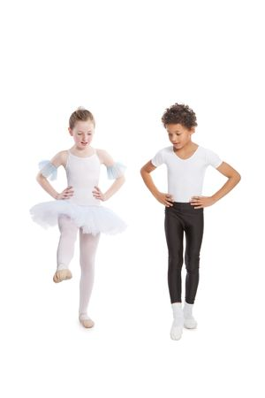 interracial  children dancing together, isolated on white background photo