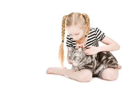 isilated: Young girl posing with cat, isilated on white Stock Photo
