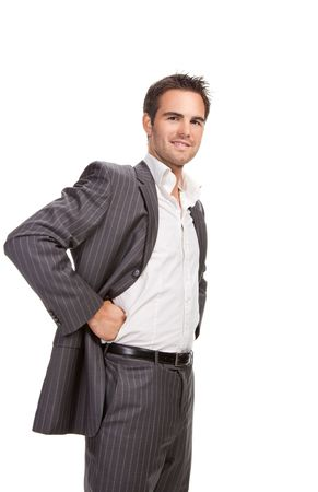 Portrait of confident business man isolated over white background photo