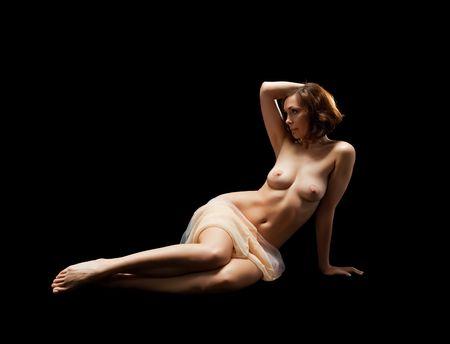 sexy woman body on black Stock Photo