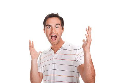 cara de sorpresa: Retrato de joven sorprendido ensaya un juego brillantes. Aislados en blanco.   Foto de archivo