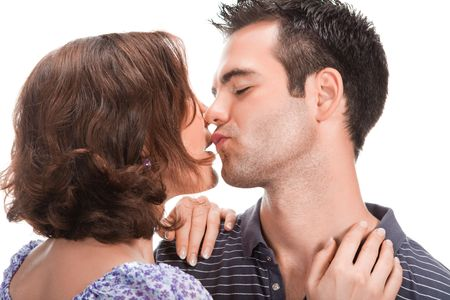 young couple in love, close up, studio shot  photo