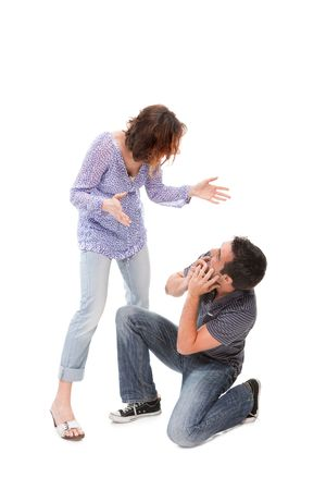 Angry couple yelling at each other  isolated over white background Stock Photo - 6769033