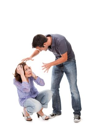 Angry couple yelling at each other  isolated over white background Stock Photo - 6769034