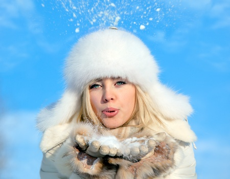 girl with snowflake photo