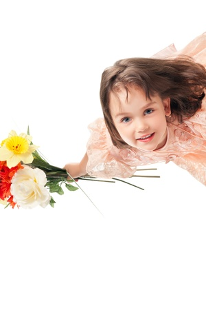 one child only: Cute little girl with flowers Stock Photo