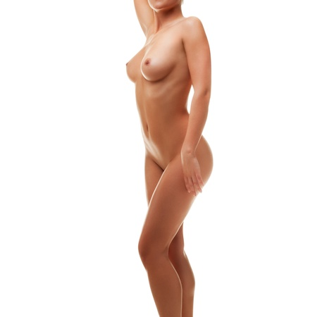 nude woman sitting: Young beautiful naked woman