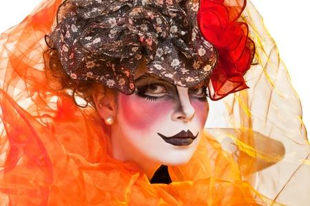 mime femme avec le maquillage de théâtre Banque d'images