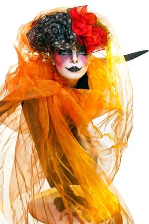 pantomima: mujer mime con maquillaje teatral Foto de archivo