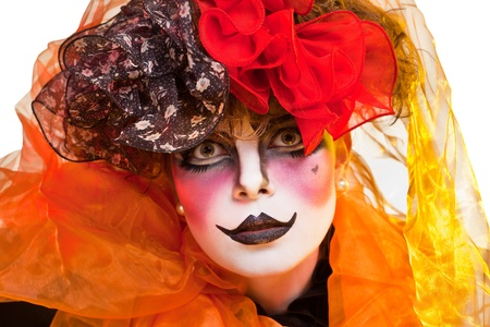 clown face: woman mime with theatrical makeup