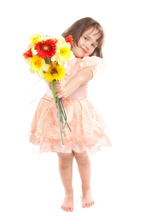 Cute little girl with flowers photo