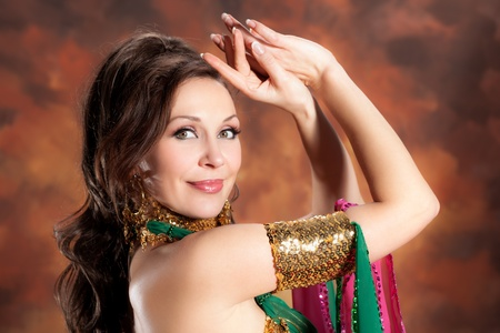 belly dance: Beautiful exotic belly dancer woman