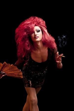transexual: Drag-Queen. Hombre vestido como mujer.
