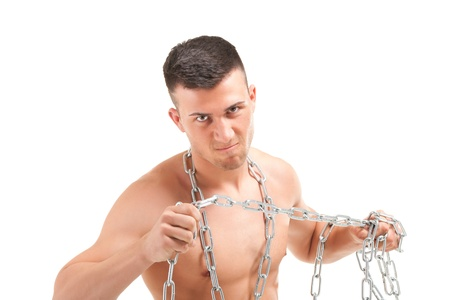 shirtless male: Young muscular man with a chain