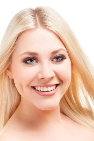 young woman close up studio portrait photo
