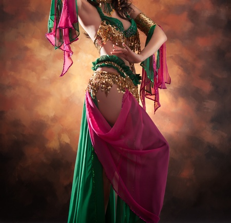 Beautiful exotic belly dancer woman Stock Photo