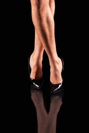 sexy mens legs in patent-leather shoes photo