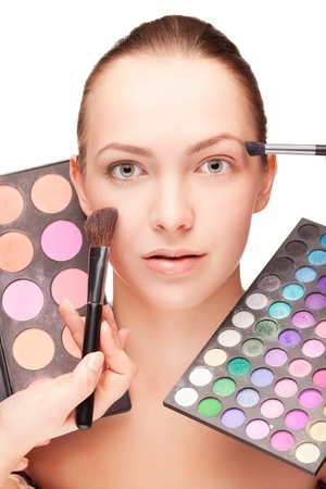 girl shadow: Woman with make-up and palette eyeshadow Stock Photo