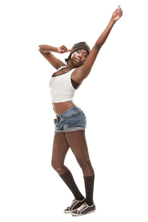 young african woman dancing hip-hop photo