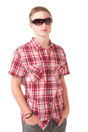 Portrait Of A Teenage Boy with sunglasses photo