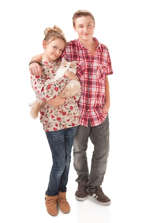 brothers and sisters: Portrait of a teenage boy and teenage girl Stock Photo