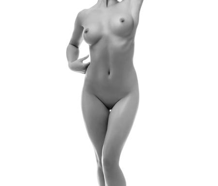 naked young women: Элегантный взрослого красивого обнаженная женщина, изолированных на белом фоне Фото со стока