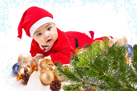 Baby in Santa costume photo
