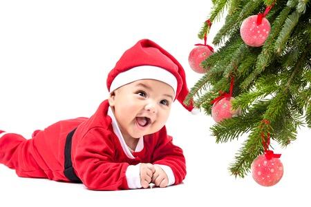 christmas baby: Baby in Santa costume