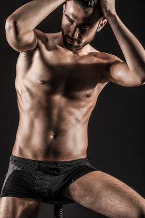 The Muscular Young Sexy Naked Cute Man Stock Photo