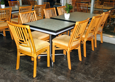 table and chairs: glass table and wooden chairs for 7 people