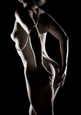 naked silhouette: classic low key photo of sexy woman body