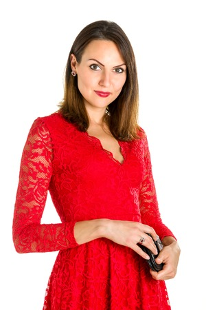 red dress: Business woman portrait on blue white background. Red dress.
