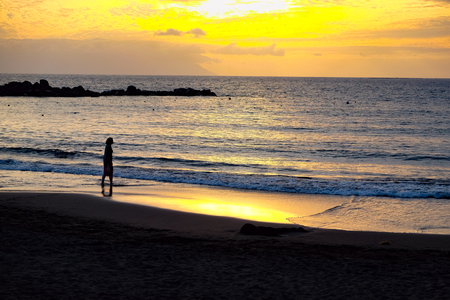 atlantic ocean: Sun Setting on the Atlantic Ocean in Tenerife Canary Island Spain