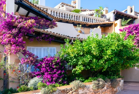 Mediterranean architecture at the idyllic small town of Cala Fornells, Spain Balearic Islands.