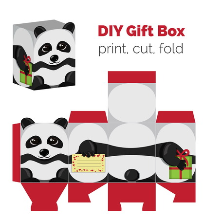 do it yourself: Adorable Do It Yourself DIY panda gift box with ears for sweets, candies, small presents. Illustration