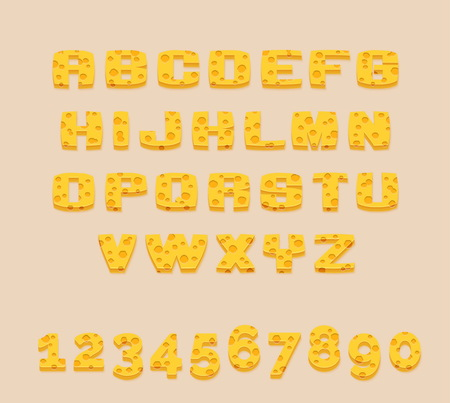 swiss cheese: Stylized yummy yellow vector Swiss cheese abc alphabet and digits. Use letters to make your own text.