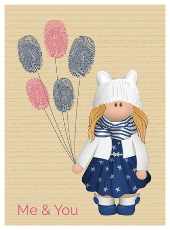 fingerprinted: Cute vector romantic love card with a girl wearing  funny eared hat and adorable outfit holding fingerprinted balloons